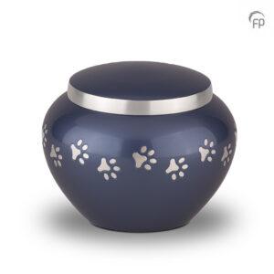 Blauwe dierenurn met zilveren pootafdrukken - Middel