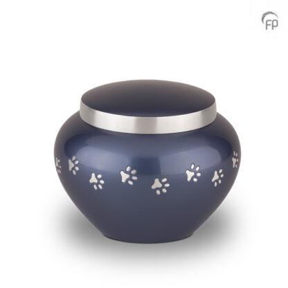 Blauwe dierenurn met zilveren pootafdrukken - Klein