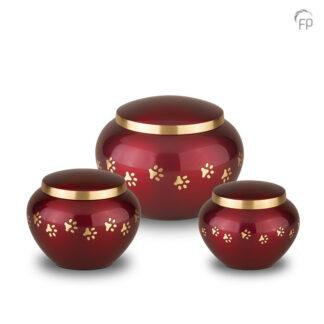 Rode dierenurn met gouden pootafdrukjes