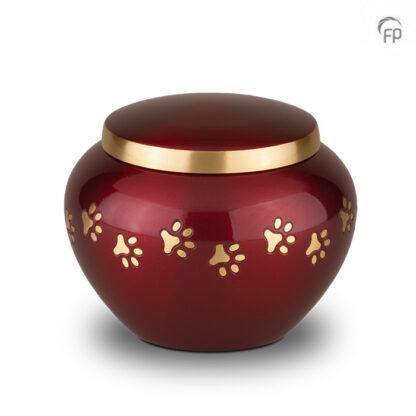 Rode dierenurn met gouden pootafdrukjes - Middel
