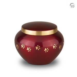 Rode dierenurn met gouden pootafdrukjes - Klein