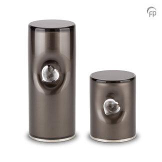 Crystal Heart urn grijs