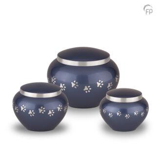 Blauwe dierenurn met zilveren pootafdrukken