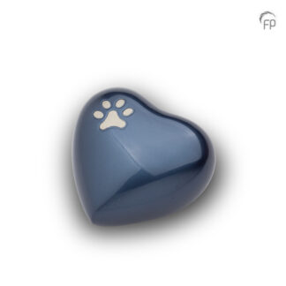 Dierenurn blauw hartje