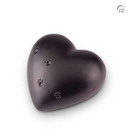 Dierenurn zwart hartje keramiek groot