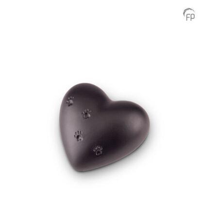Dierenurn zwart hartje keramiek klein