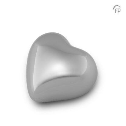 Mini urn zilveren hart - glanzend