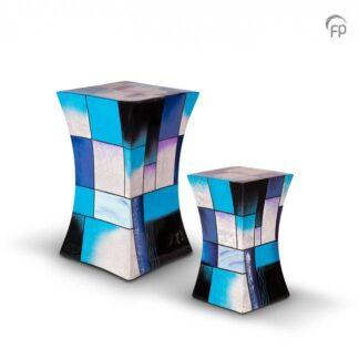 Zandloper urn glasfiber blauw