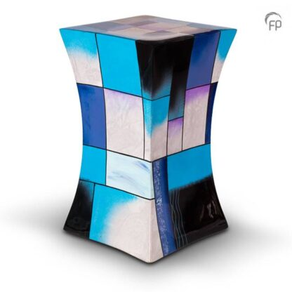 Zandloper urn glasfiber blauw groot