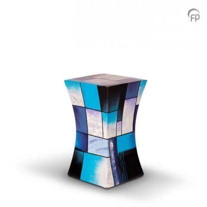 Zandloper urn glasfiber blauw klein