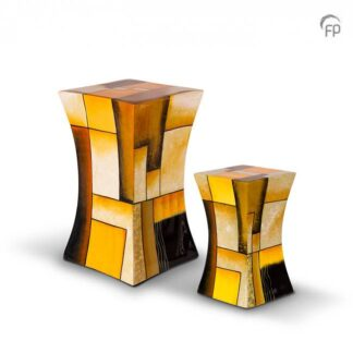 Zandloper urn glasfiber geel