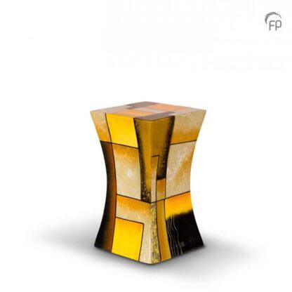 Zandloper urn glasfiber geel klein