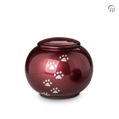 kristalglazen bolle dierenurn rood - groot