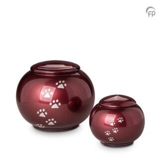 kristalglazen bolle dierenurn rood