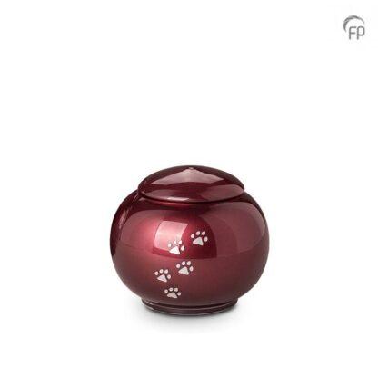 kristalglazen bolle dierenurn rood - klein