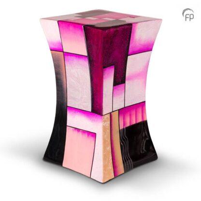 Zandloper urn glasfiber roze groot