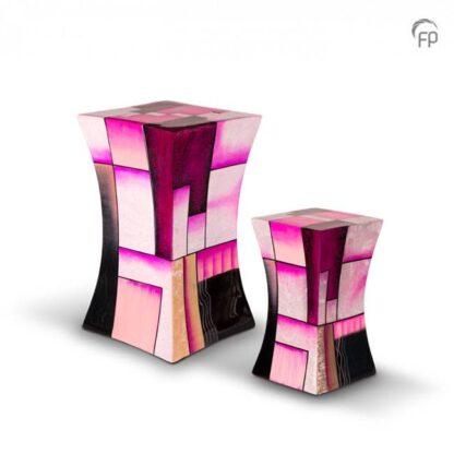 Zandloper urn glasfiber roze